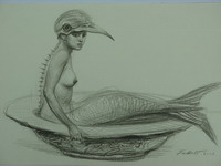 Mermaid with Beak in a Bowl